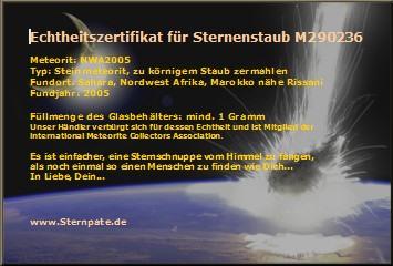 Zertifikat meteorit Sternenstaub echtheitszertifikat