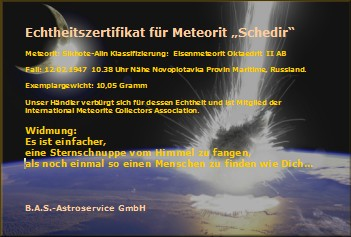 Zertifikat, Echtheitszertifikat meteorit