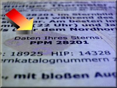 Ausschnitt Sternurkunde: Mit offizieller PPM-Sternkatalognummer Stern bei Sternwarte oder Planetarium weltweit zeigen lassen.