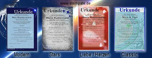 Wählen Sie aus vier Urkundendesigns für Ihre Sternurkunde