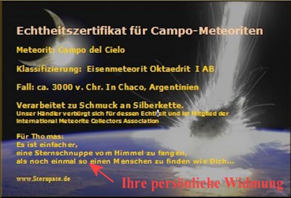 Zertifikat für Meteoritenbestellung